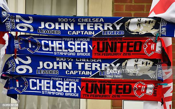 Scarves for sale prior to the Barclays Premier League match between Chelsea and Manchester United at Stamford Bridge on February 7 2016 in London...
