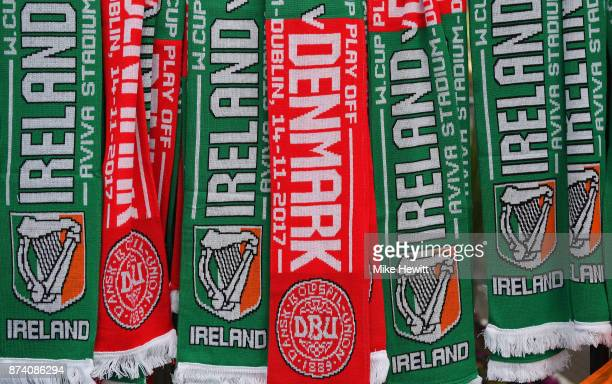 Scarves for sale prior to the FIFA 2018 World Cup Qualifier PlayOff Second Leg between Republic of Ireland and Denmark at Aviva Stadium on November...