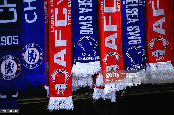 Scarves for sale prior to the SSE Women's FA Cup Final between Arsenal Ladies and Chelsea Ladies at Wembley Stadium on May 14 2016 in London England