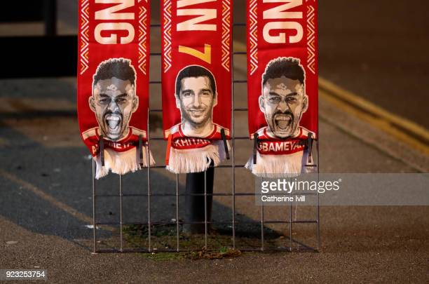 Scarves for sale showing the faces of PierreEmerick Aubameyang and Henrikh Mkhitaryan of Arsenal prior to the UEFA Europa League Round of 32 match...