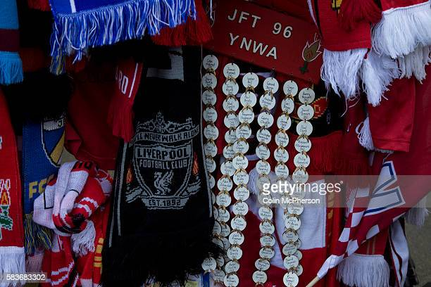 Scarves from various football clubs tied to the Shankly Gates outside the stadium before the 25th anniversary memorial service to the 1989...