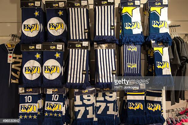 Scarves on display in a shop during the Champions Hockey League round of eight game between HV71 Jonkoping and Espoo Blues on November 10, 2015 in...