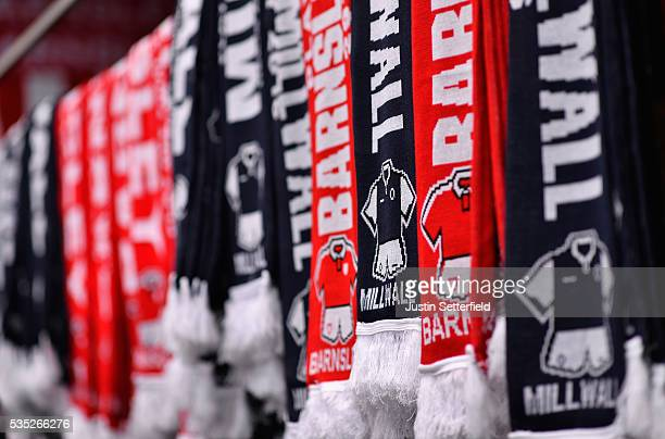 Scarves on sale ahead of the Sky Bet League One Play Off Final between Barnsley and Millwall at Wembley Stadium on May 29 2016 in London England