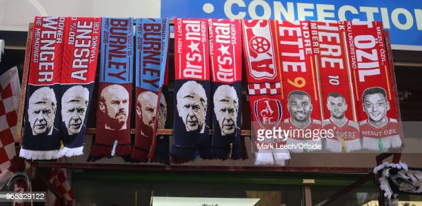 Scarves on sale with the faces of Arsene Wenger and Sean Dyche before the Premier League match between Arsenal and Burnley at Emirates Stadium on May...