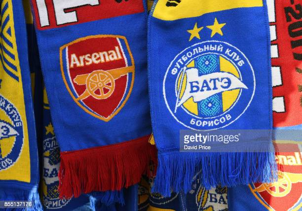 Scarves on sell before the UEFA Europa League group H match between BATE Borisov and Arsenal FC at BorisovArena on September 28 2017 in Barysaw...