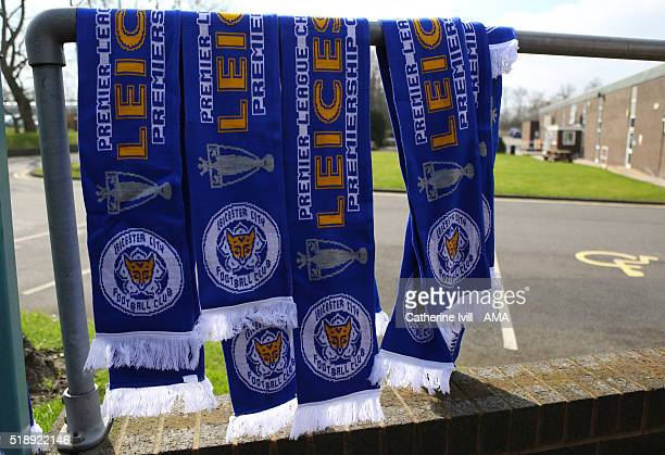 Scarves reading Leicester City Premiership Champions are sold prior the Barclays Premier League match between Leicester City and Southampton at The...