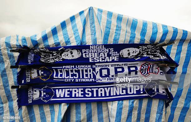 Scarves to celebrate avoiding the relegation on sale the Barclays Premier League match between Leicester City and Queens Park Rangers at The King...