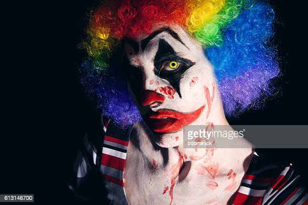scary clown character - very ugly women stock photos and pictures
