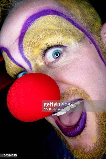 scary clown closeup - happy clown faces stock photos and pictures