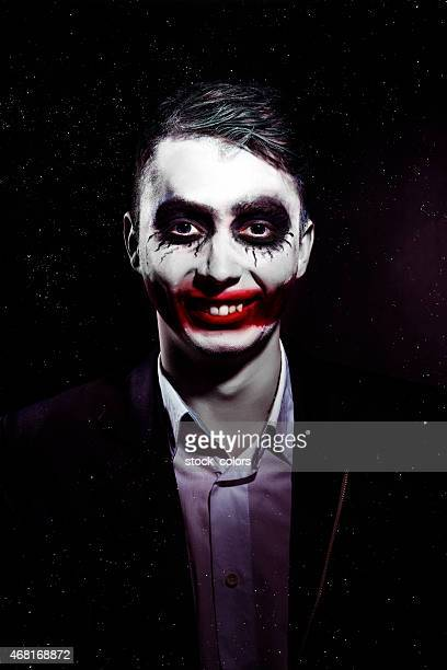 scary clown on halloween - scary clown makeup stock photos and pictures