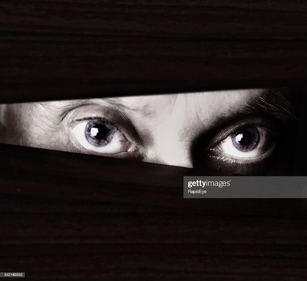 Scary eyes staring through blinds in monochrome close up : Stock Photo