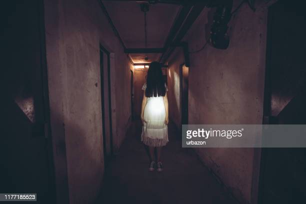 scary female ghost - chasing stock pictures, royalty-free photos & images