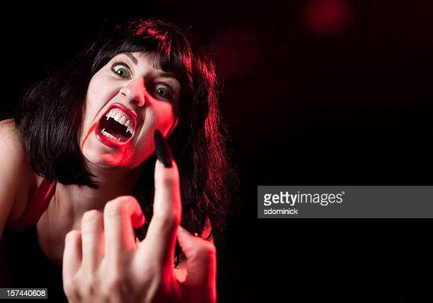scary female vampire - black hair stock pictures, royalty-free photos & images