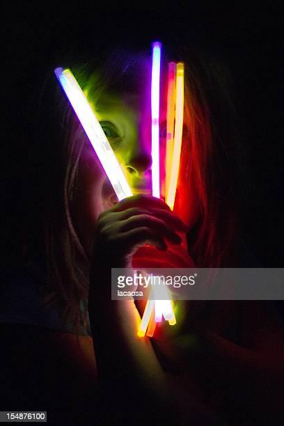 Scary girl with glow sticks