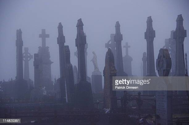 scary graveyard/cemetary in galway - cemetery stock pictures, royalty-free photos & images