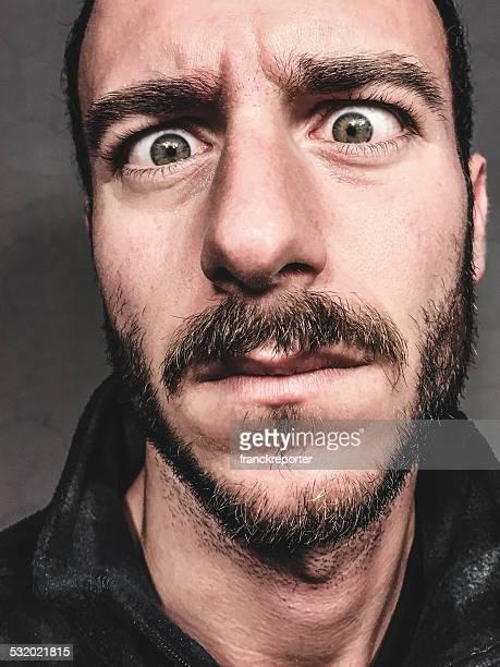 spaventoso viso barba primo piano - human face foto e immagini stock