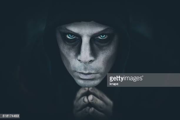 scary man coming out of the dark - zombie face stock photos and pictures