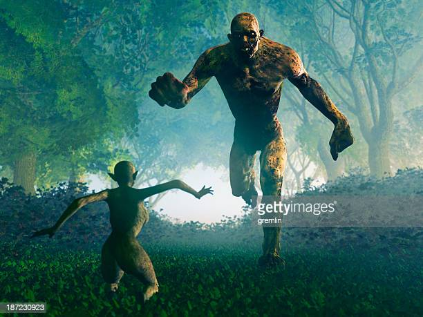 scary monster attacking forest fairy - monster fictional character stock pictures, royalty-free photos & images