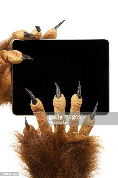 Scary Monster Halloween Hands Hold Digital Tablet Computer