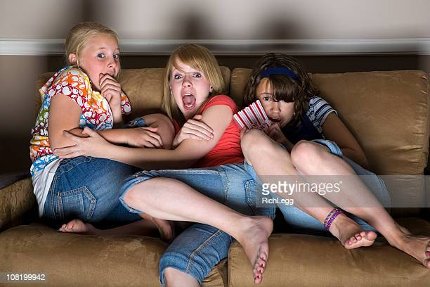 scary movie - barefoot girl stock photos and pictures