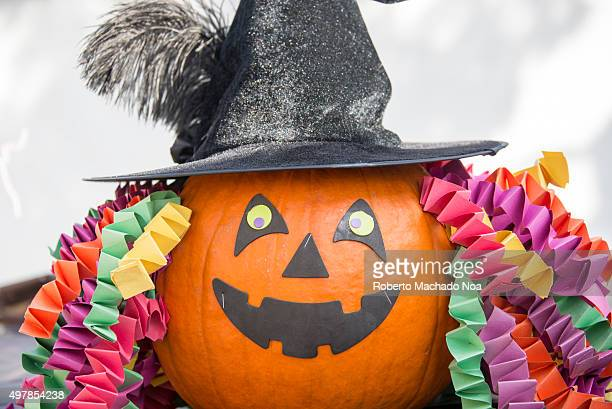 Scary pumpkin at TO West Halloween Fest 2015 Craft work on pumpkin done by children as part of the Halloween craft activity at the Fest Pumpkin with...