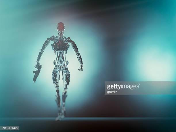Assustador robô esqueleto com Arma