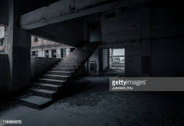 scary staircase in  room of abandoned factory - abandoned stock pictures, royalty-free photos & images