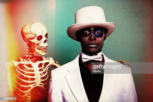 Scary Sugar Skull man with a skeleton