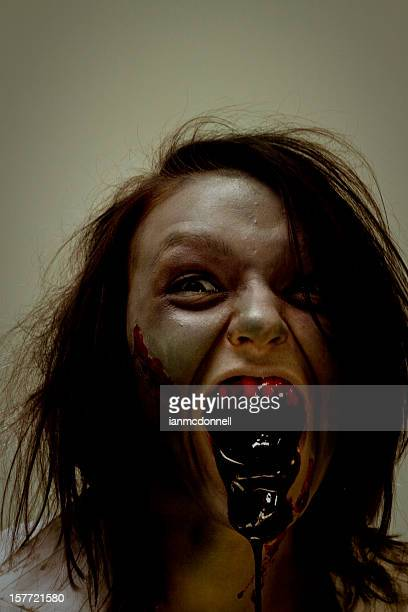 scary zombie - zombie makeup stock photos and pictures