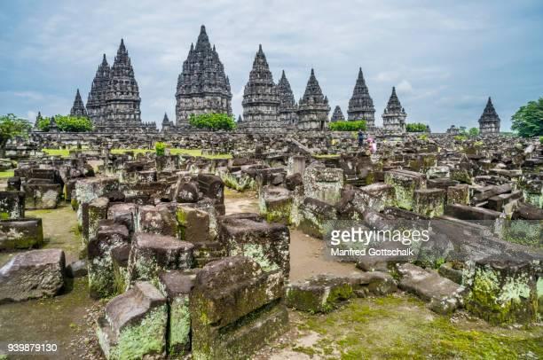 scattered masonry at prambanan temple central java - yogyakarta stock photos and pictures