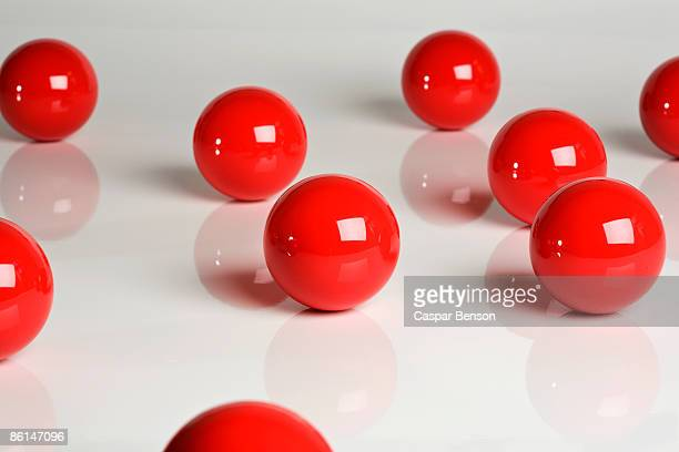 Scattered snooker balls