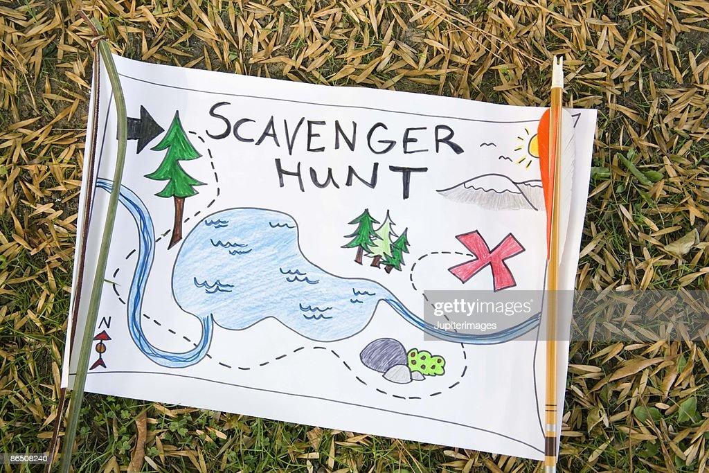 Scavenger hunt map : Stock Photo