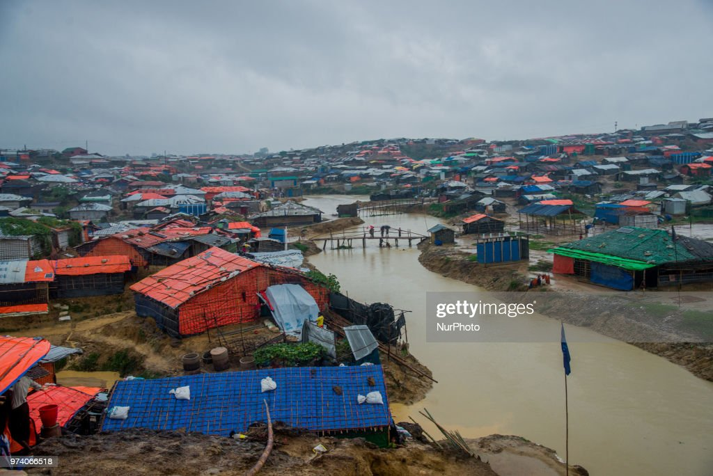 Scenario of a flooded rohingya makeshift shelterr at kutupalong in Coxs Bazar, Bangladesh on June 13, 2018.