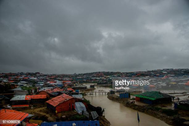 Scenario of a flooded rohingya makeshift shelterr at kutupalong in Coxs Bazar Bangladesh on June 13 2018