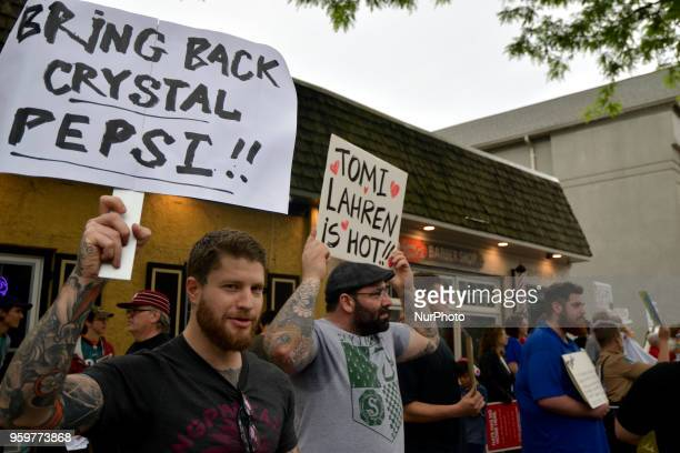 Scene at a protest outside a tour stop of conservative political commentator Tomi Lahren at the Keswick theatre in Glenside PA in the Philadelphia...