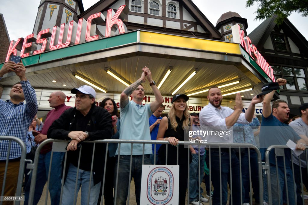 Scene at a protest outside a tour stop of conservative political commentator Tomi Lahren at the Keswick theatre in Glenside, PA, in the Philadelphia suburbs, on May 17, 2018.