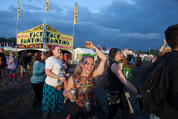 A scene at Glastonbury as as people enjoy dancing in unison to a Bhangra band at one of the small stages where relatively unknown bands perform The...