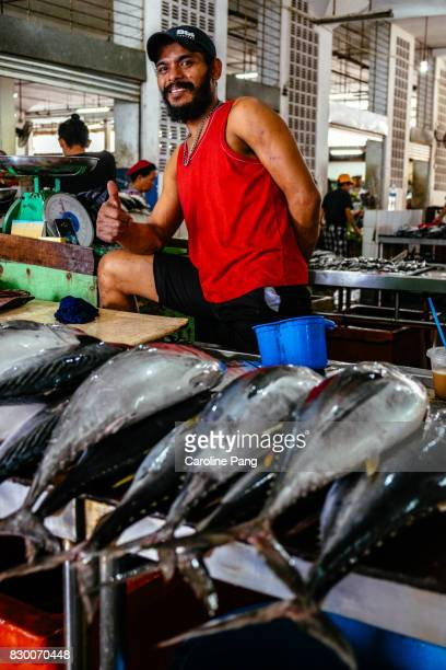 scene at sandakan wet market in the eastern part of sabah on the island of borneo. - caroline pang stock pictures, royalty-free photos & images
