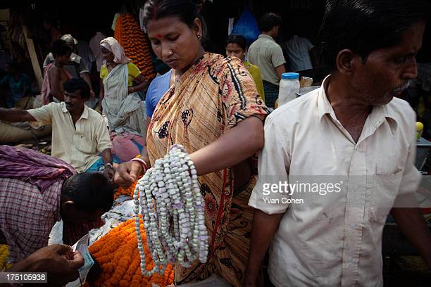 A scene at the flower market close to Armenian ghat along the banks of the Hooghly river Kolkata is India's oldest port city It is a place of sharp...