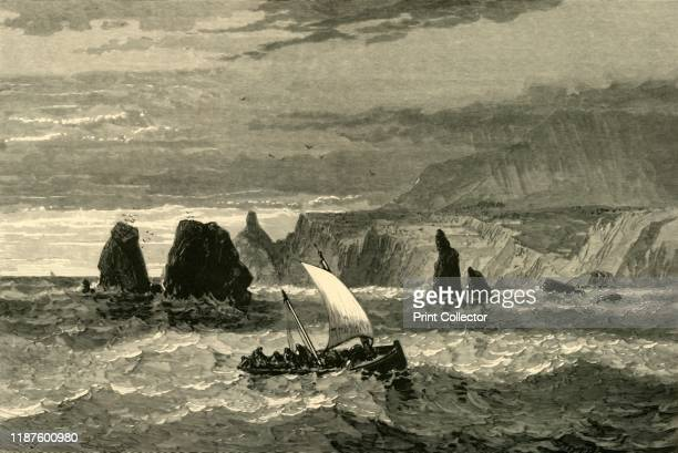 Scene at the Mouth of Russian River' 1872 Fishing boat on the Russian River where it flows into the Pacific Ocean California USA The river takes its...
