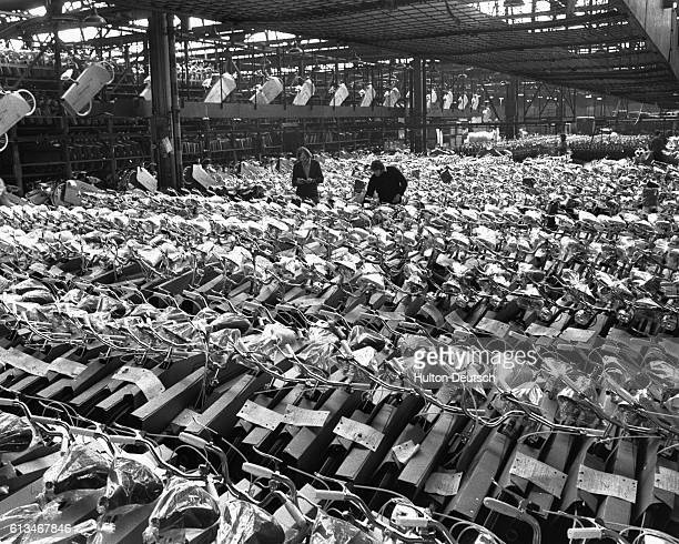 A scene at the Raleigh bicycle factory in Nottingham where a bicycle is produced every minute 70% of the word's bicyles are made by Raleigh which...