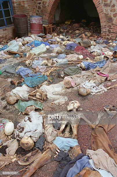 Scene at the site of a massacre of hundreds of Tutsis by Hutu militia at a church in the countryside in the southeast corner of Rwanda in a village...