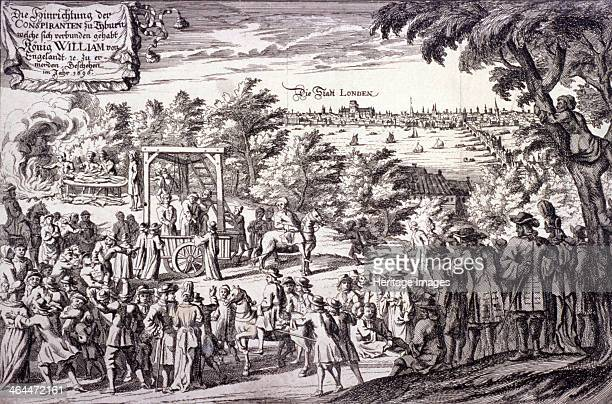 Scene at Tyburn, Paddington, London, 1696; showing crowds gathered to watch a hanging. The triple gibbet and cart used for hanging can be seen in the...