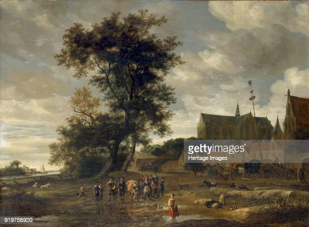 Scene before a Maypole with Alkmaar Church in the Background 1669 Artist Salomon Ruysdael