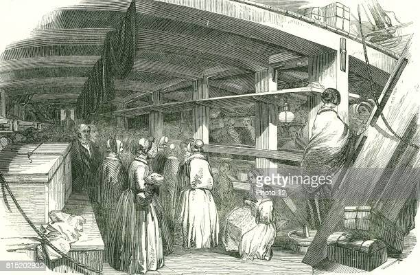 Scene between decks on an emigrant ship carrying poor needlewomen to Australia At this date skilled workers were given sponsored passages to emigrate...