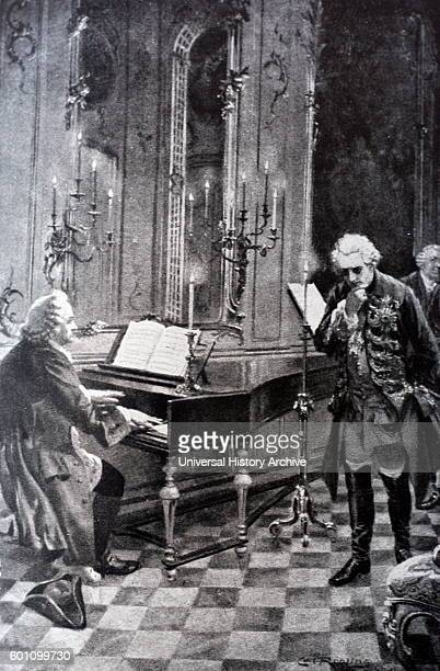 Scene depicting Frederick the Great King of Prussia and Johann Sebastian Bach a German composer and musician of the Baroque period Dated 18th Century