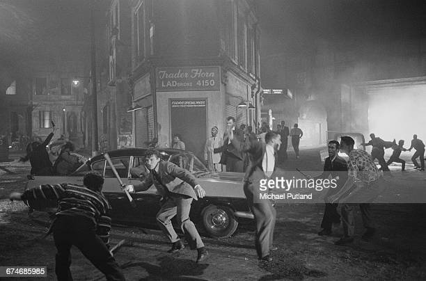 A scene depicting the 1958 Notting Hill race riots on the set of the rock musical 'Absolute Beginners' directed by Julien Temple August 1985