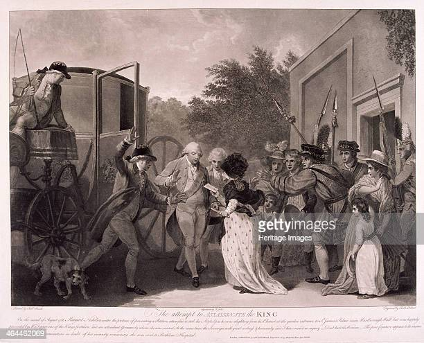 Scene depicting the attempt made by Margaret Nicholson to assassinate King George III at the entrance to St James's Palace London on August 2 1786...