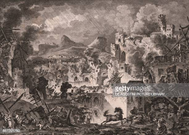 Scene depicting the earthquake of 1783, Messina, Sicily, Italy, etching, ca 18x22 cm, from Voyage pittoresque a Naples et en Sicile, Nouvelle...