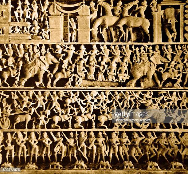 Scene depicting the marriage of Aristanemi from Luna Vasahi part of the Dilwara temples of India Located about 2½ kilometres from Mount Abu...